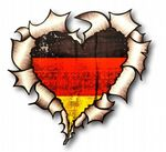 Ripped Torn Metal Heart with Germany German Flag Motif External Car Sticker 105x100mm